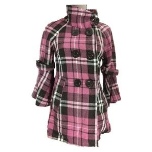 Wool Plaid Coat Jacket Pink Brown Flare Big Button